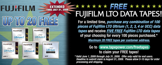 End User Promo - Receive up to 20 Fuji LTO Ultrium Tape Cartridges