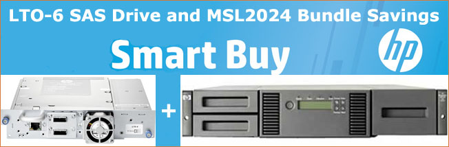HP Smart Buy MSL2024 and LTO-6 SAS Tape Drive Bundle Kit Promotion