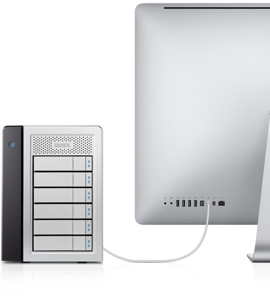 iMAC and thunderbolt connectivity with Promise Pegasus RAID Storage Device