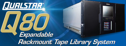 Qualstar Q80 Rackmount Tape Library - 80 Slots LTO-6 or LTO-7 Scalable Tape Library