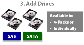 SnapSAN add-on drives SAS or SATA 300GB - 2TB